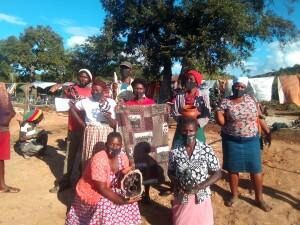Women sculptors in Masvingo pose with their wares